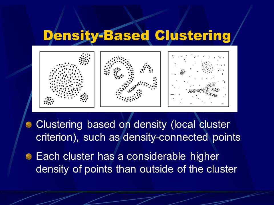 Conclusion Density-based Algorithm DBSCAN is designed to discover clusters of arbitrary shape.