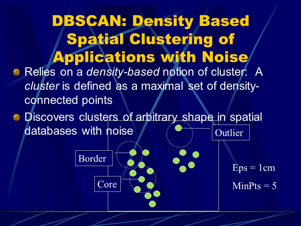 DBSCAN: The Algorithm (1) Arbitrary select a point p Retrieve all points density-reachable from p wrt Eps and MinPts.