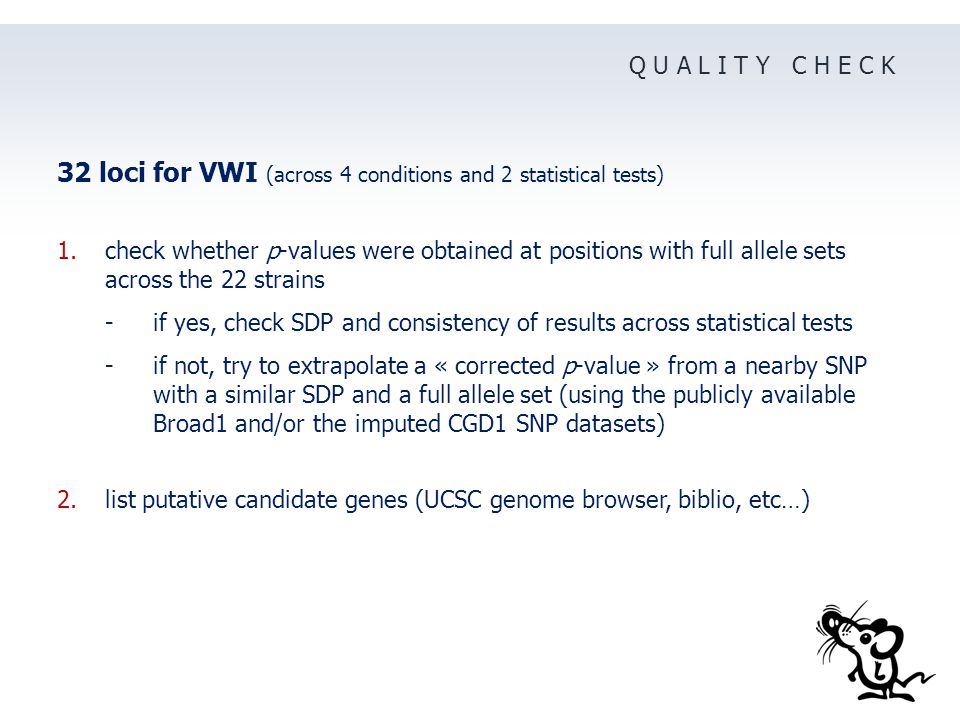 Q U A L I T Y C H E C K 32 loci for VWI (across 4 conditions and 2 statistical tests) 1.check whether p-values were obtained at positions with full allele sets across the 22 strains - if yes, check SDP and consistency of results across statistical tests -if not, try to extrapolate a « corrected p-value » from a nearby SNP with a similar SDP and a full allele set (using the publicly available Broad1 and/or the imputed CGD1 SNP datasets) 2.list putative candidate genes (UCSC genome browser, biblio, etc…)