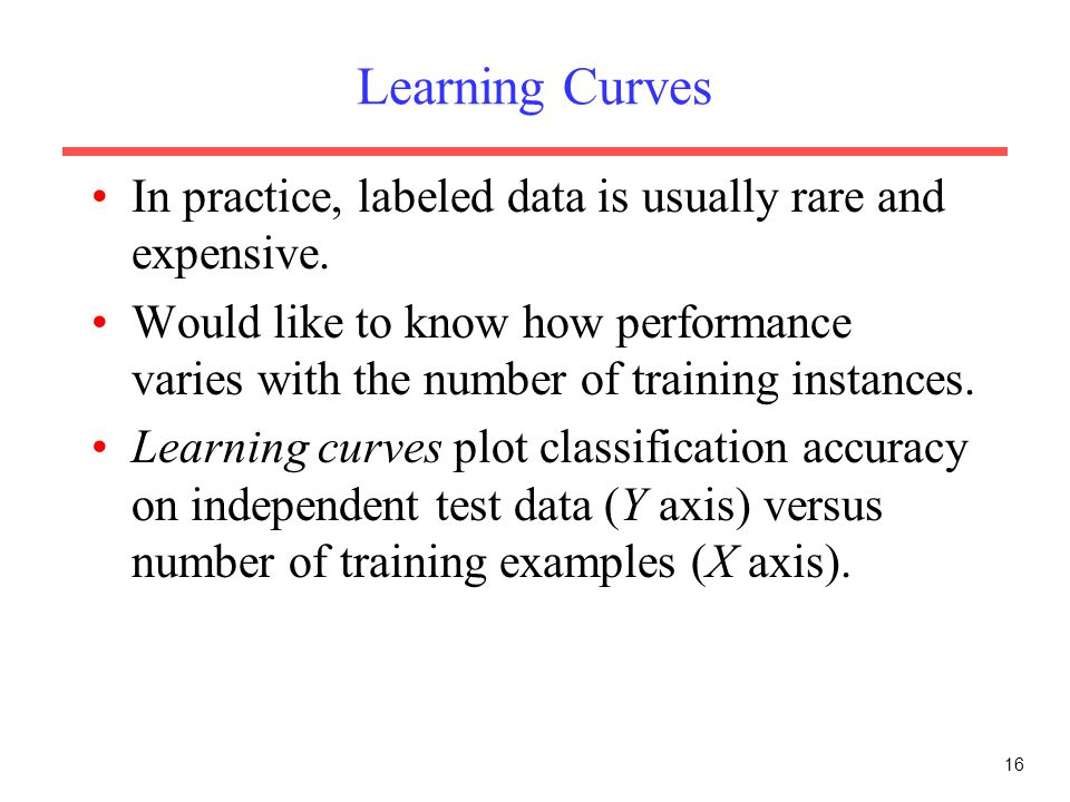 16 Learning Curves In practice, labeled data is usually rare and expensive. Would like to know how performance varies with the number of training inst
