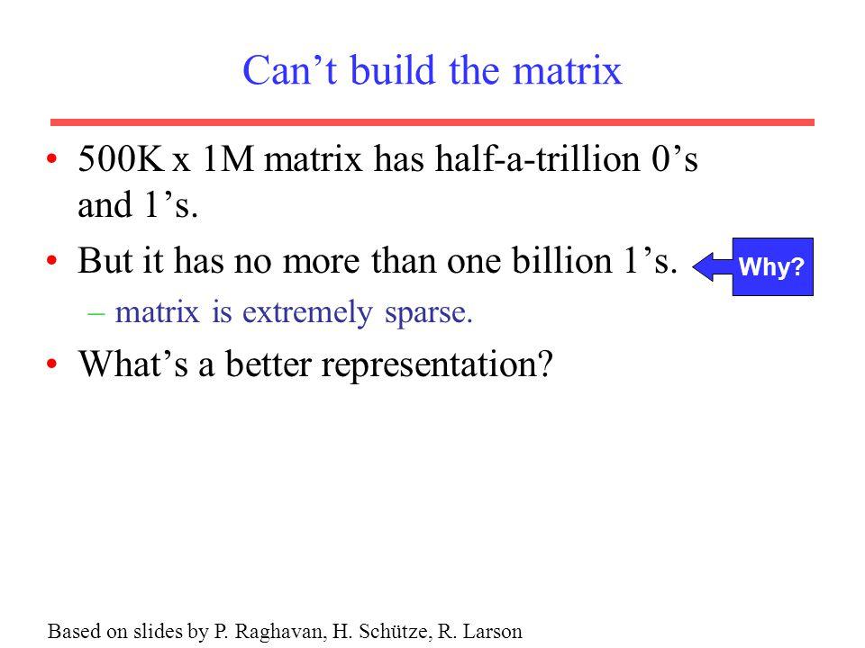 Can't build the matrix 500K x 1M matrix has half-a-trillion 0's and 1's.