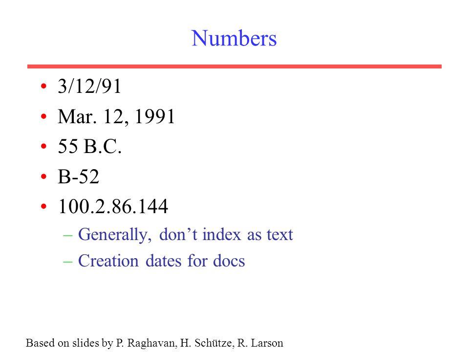 Numbers 3/12/91 Mar.12, 1991 55 B.C.