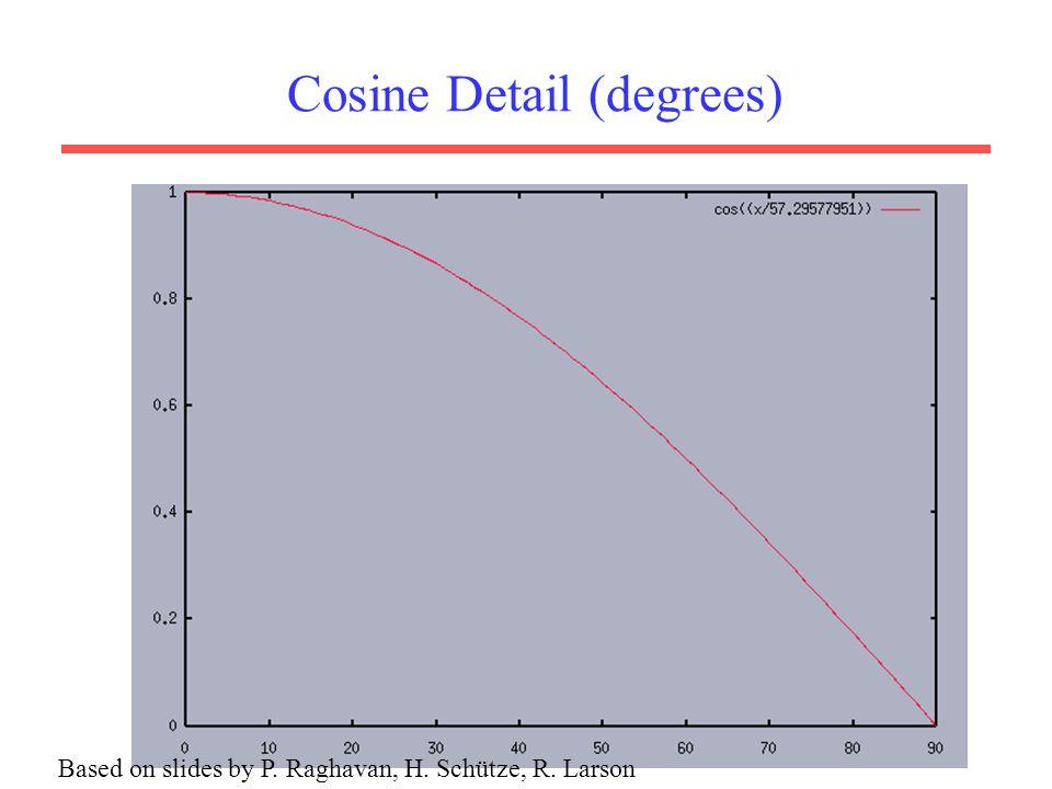 Cosine Detail (degrees) Based on slides by P. Raghavan, H. Schütze, R. Larson