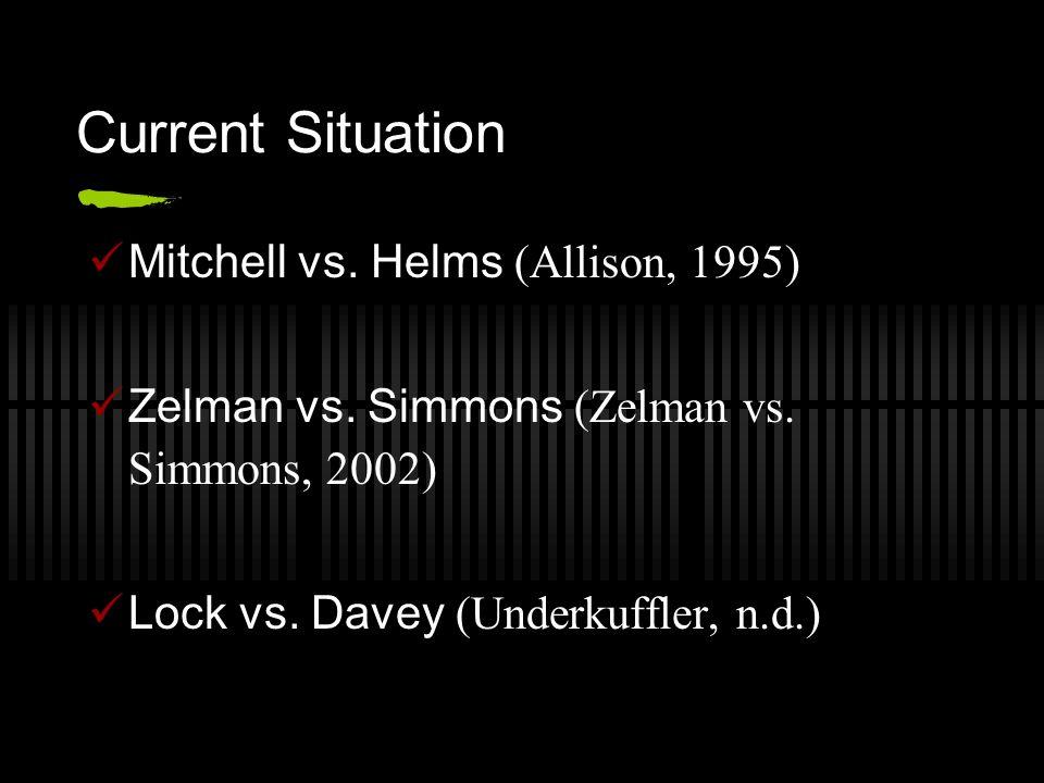 Current Situation Mitchell vs. Helms (Allison, 1995) Zelman vs.