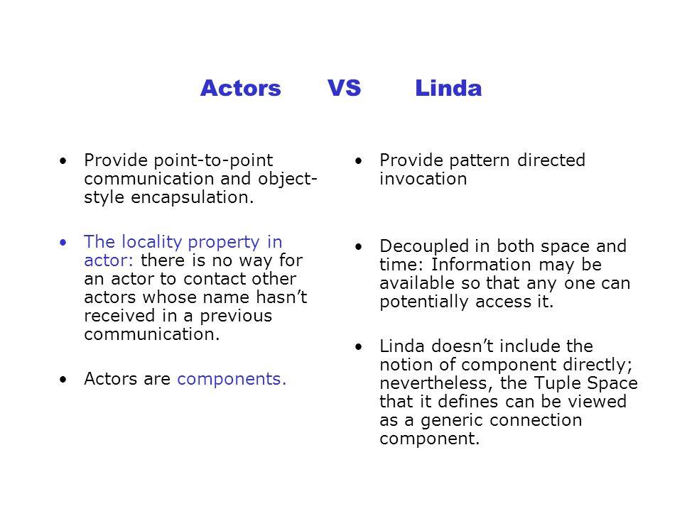 Another Example actor AdderAndMutlipy2[T] (T k) T A, T B ==> T C: action [a], [b] ==> [k*(a+b)]: endaction action [a], [] ==> [k*a]: endaction action [], [b] ==> [k*b]: endaction endactor