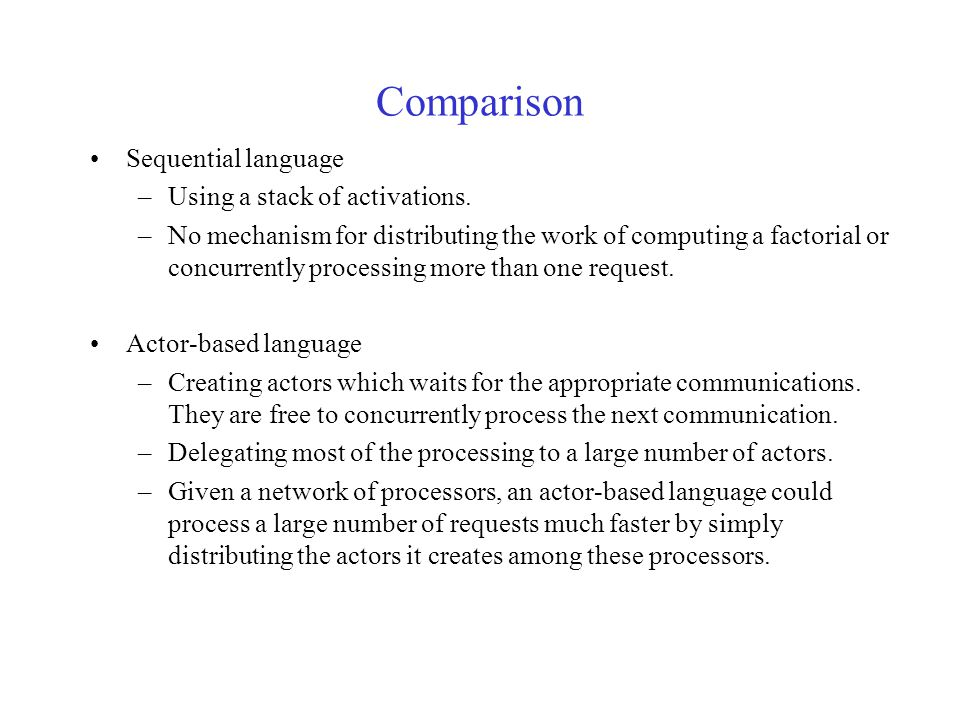 Control structure: recursive factorial computation When actor factorial receives 3 and mail address c, it creates a new actor m, and sends itself the