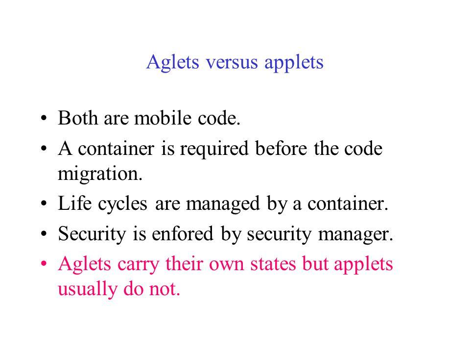 Hosting of Incoming Aglets JVM Security Layer Aglet Host Computer Aglet Server Aglet Network traffic