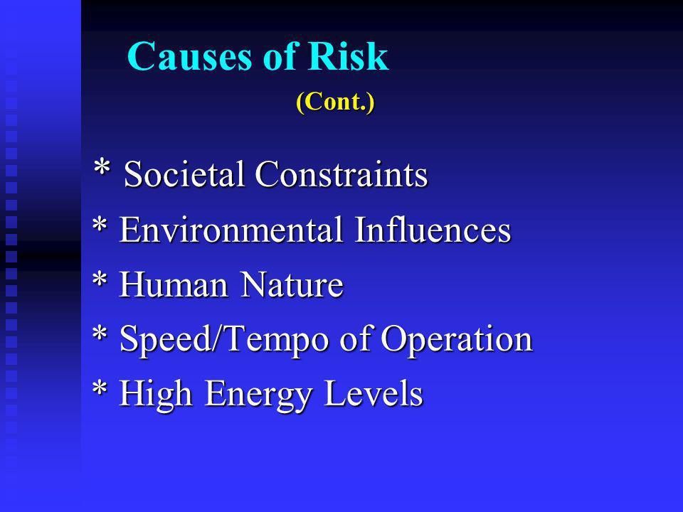 Causes of Risk * Societal Constraints * Societal Constraints * Environmental Influences * Environmental Influences * Human Nature * Human Nature * Speed/Tempo of Operation * Speed/Tempo of Operation * High Energy Levels * High Energy Levels (Cont.)
