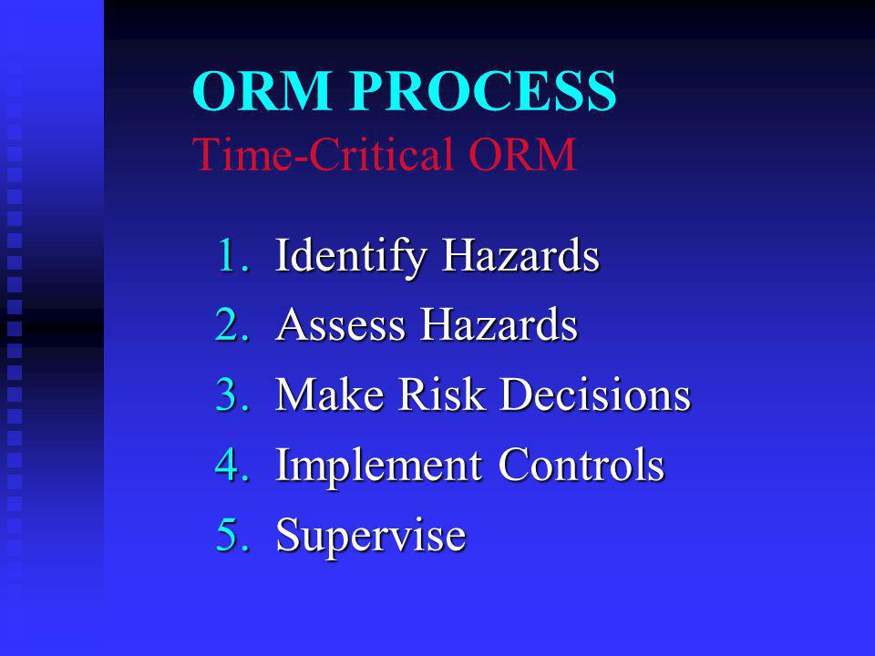 ORM PROCESS Time-Critical ORM 1. Identify Hazards 1.