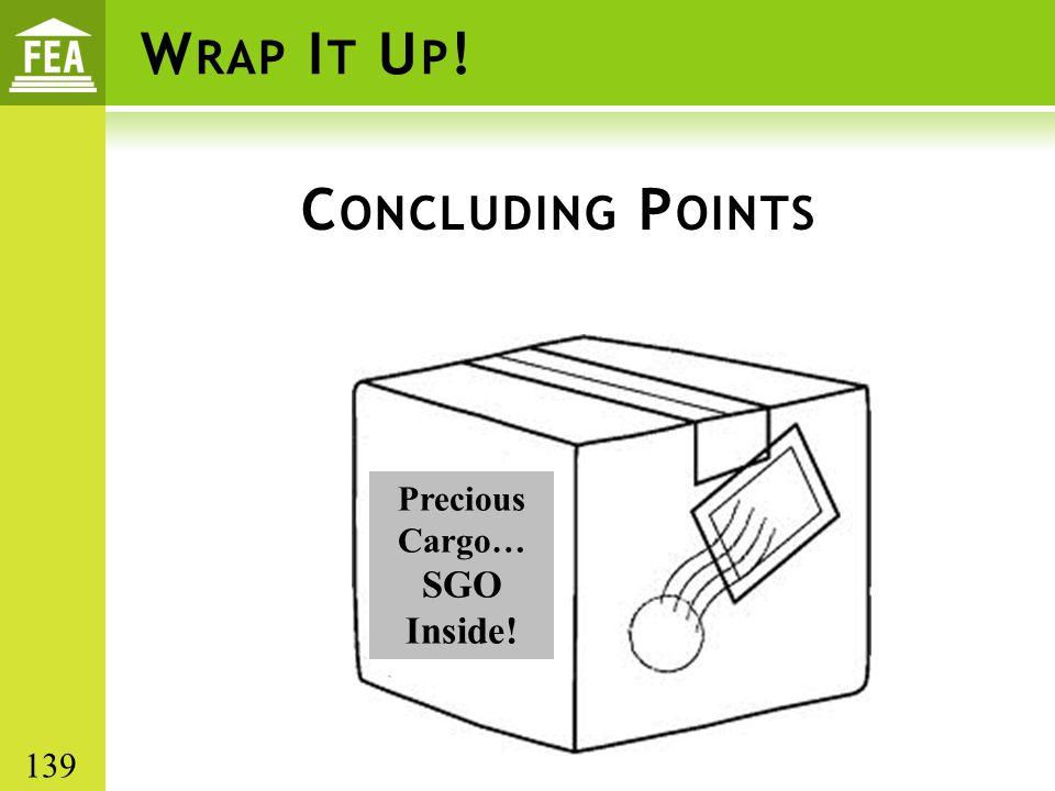 W RAP I T U P ! C ONCLUDING P OINTS Precious Cargo… SGO Inside! 139