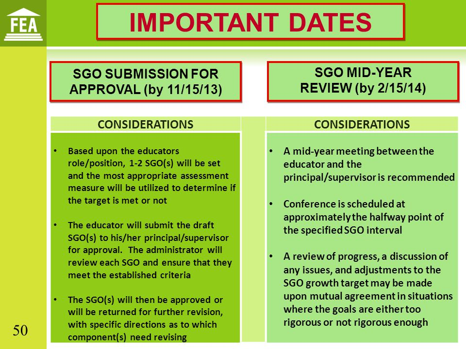 SGO SUBMISSION FOR APPROVAL (by 11/15/13) CONSIDERATIONS Based upon the educators role/position, 1-2 SGO(s) will be set and the most appropriate assessment measure will be utilized to determine if the target is met or not The educator will submit the draft SGO(s) to his/her principal/supervisor for approval.