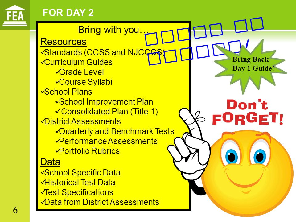 FOR DAY 2 Bring with you… Resources Standards (CCSS and NJCCCS) Curriculum Guides Grade Level Course Syllabi School Plans School Improvement Plan Consolidated Plan (Title 1) District Assessments Quarterly and Benchmark Tests Performance Assessments Portfolio Rubrics Data School Specific Data Historical Test Data Test Specifications Data from District Assessments Paper or online .