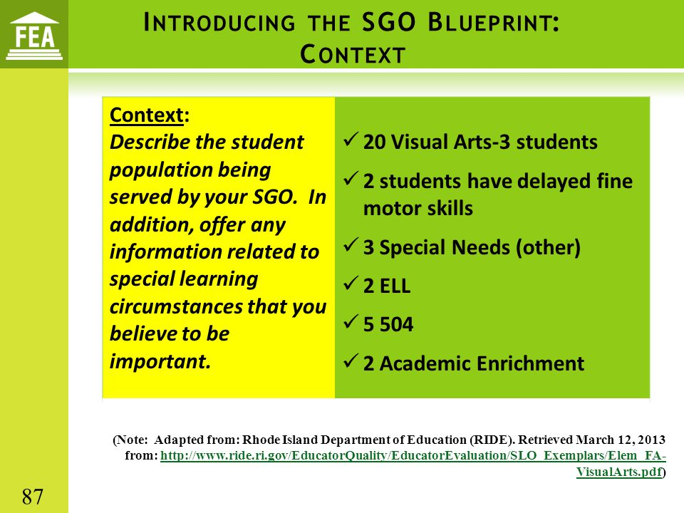I NTRODUCING THE SGO B LUEPRINT : C ONTEXT Context: Describe the student population being served by your SGO.