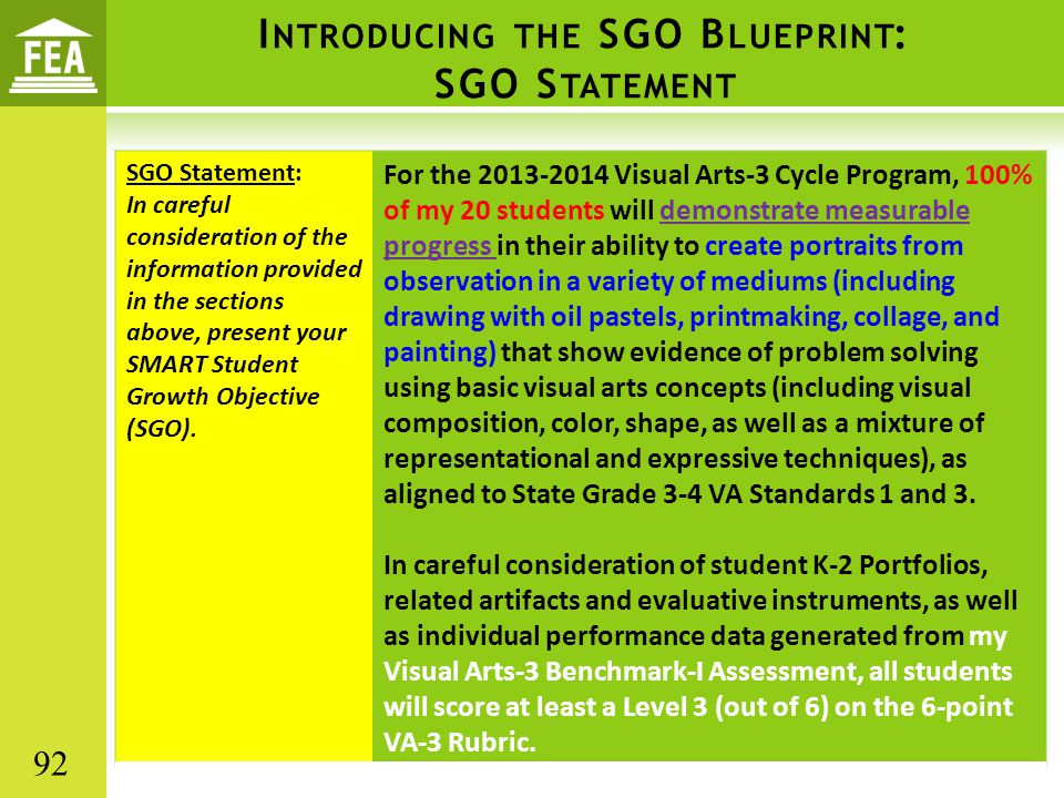 I NTRODUCING THE SGO B LUEPRINT : SGO S TATEMENT SGO Statement: In careful consideration of the information provided in the sections above, present your SMART Student Growth Objective (SGO).