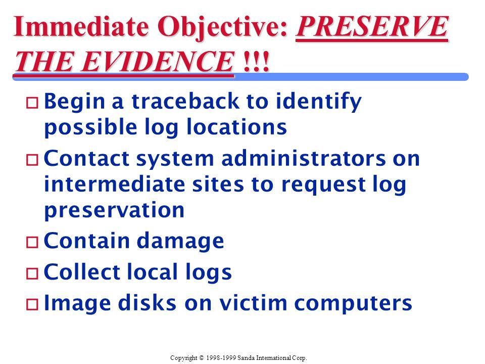 Copyright © 1998-1999 Sanda International Corp. Immediate Objective: PRESERVE THE EVIDENCE !!.