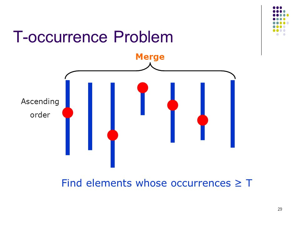 T-occurrence Problem Find elements whose occurrences ≥ T Ascending order Merge 29