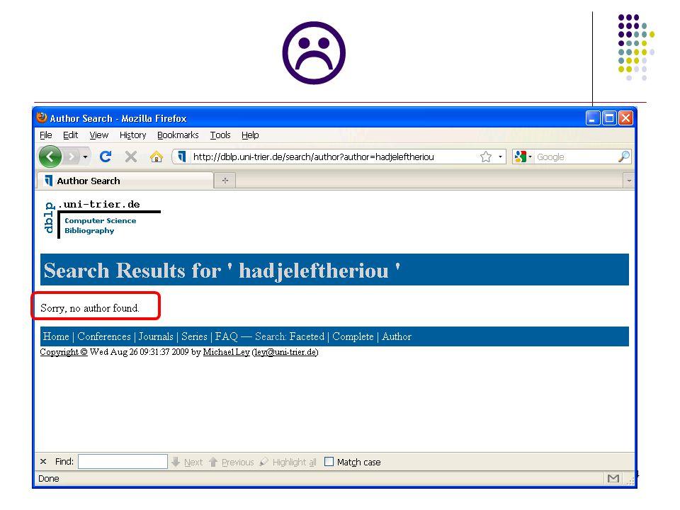 Better system? 5 http://dblp.ics.uci.edu/authors/