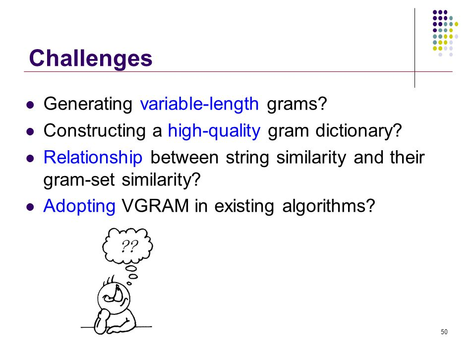 Challenges Generating variable-length grams. Constructing a high-quality gram dictionary.