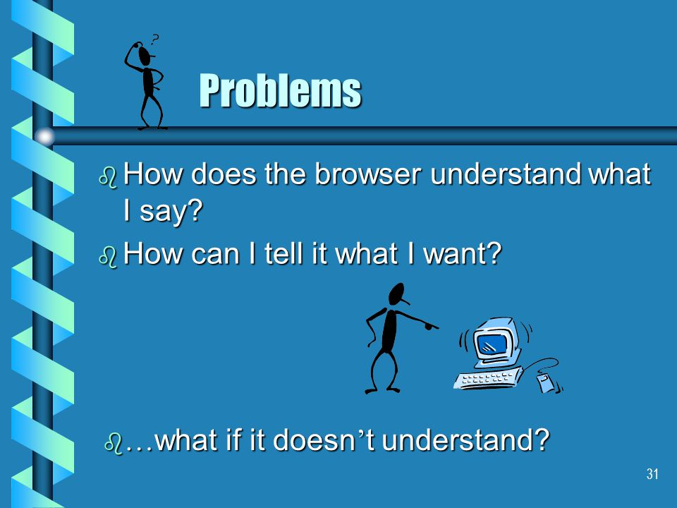 31 Problems b How does the browser understand what I say.
