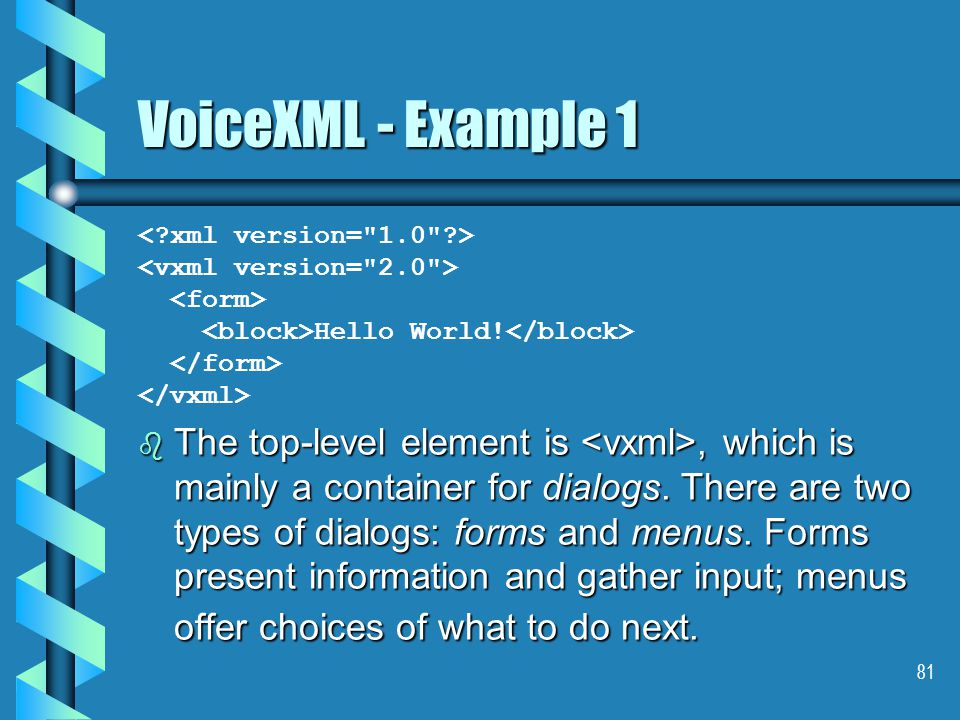 81 VoiceXML - Example 1 Hello World.