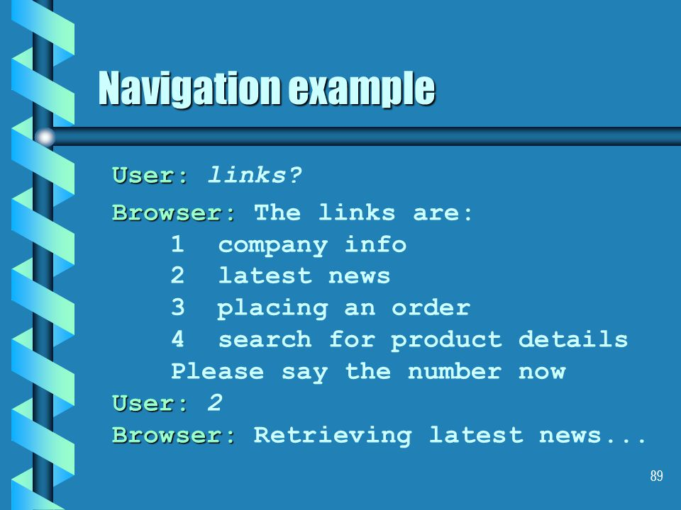 89 Navigation example User: User: links.