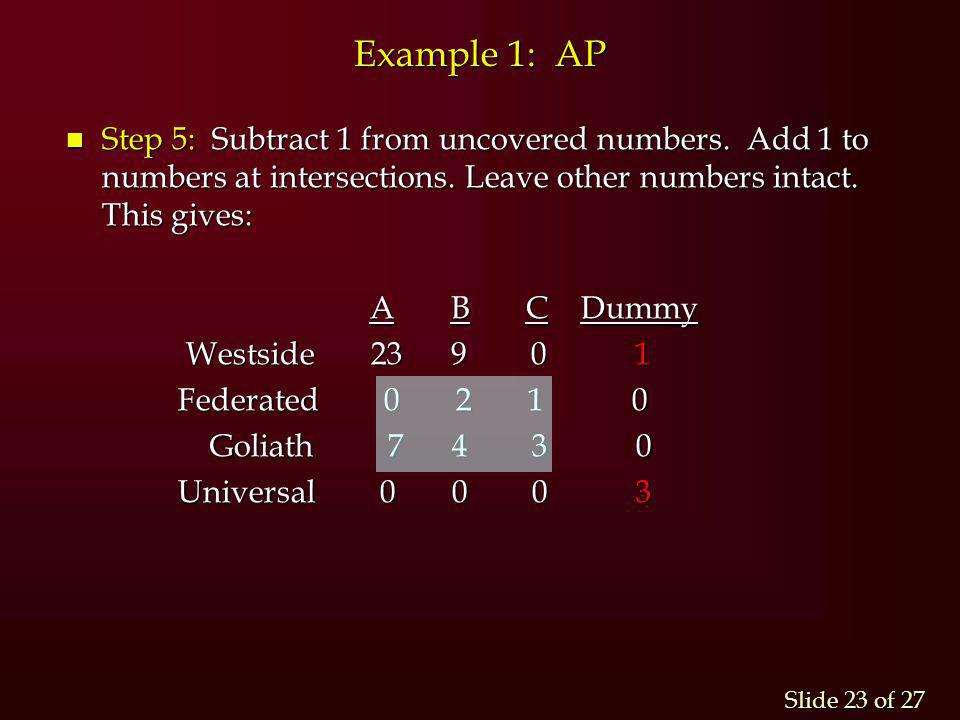 Slide 23 of 27 Example 1: AP n Step 5: Subtract 1 from uncovered numbers. Add 1 to numbers at intersections. Leave other numbers intact. This gives: A