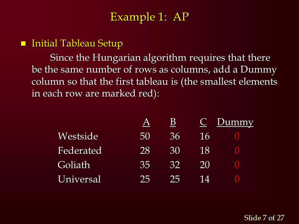 Slide 7 of 27 Example 1: AP n Initial Tableau Setup Since the Hungarian algorithm requires that there be the same number of rows as columns, add a Dum