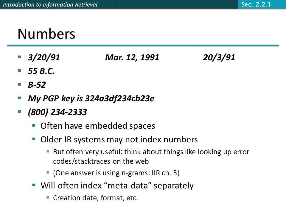 Introduction to Information Retrieval Numbers  3/20/91 Mar.
