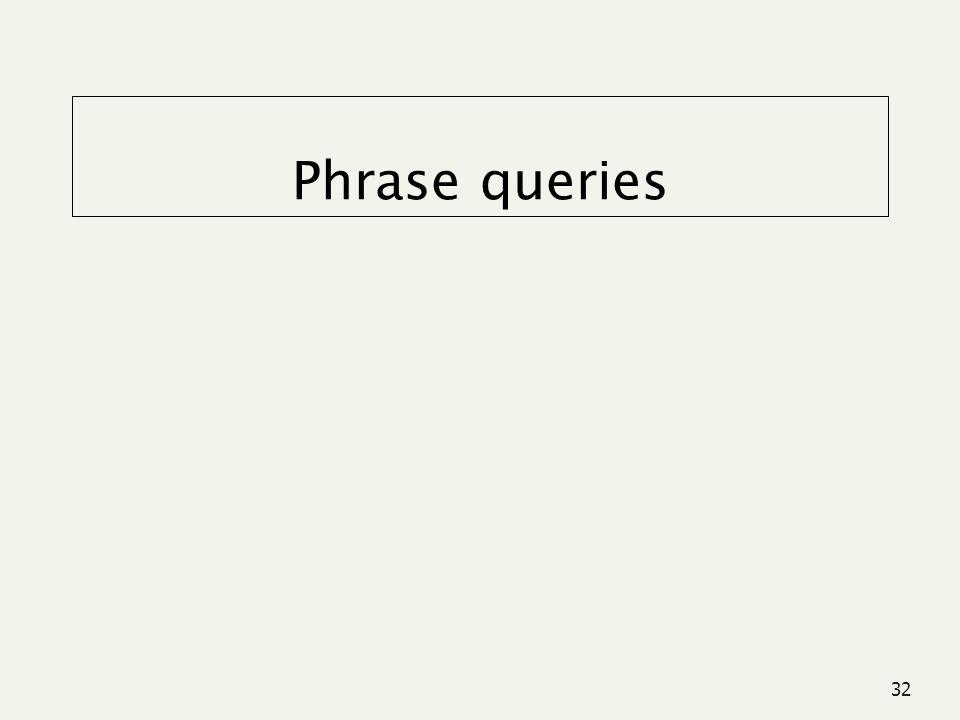 32 Phrase queries