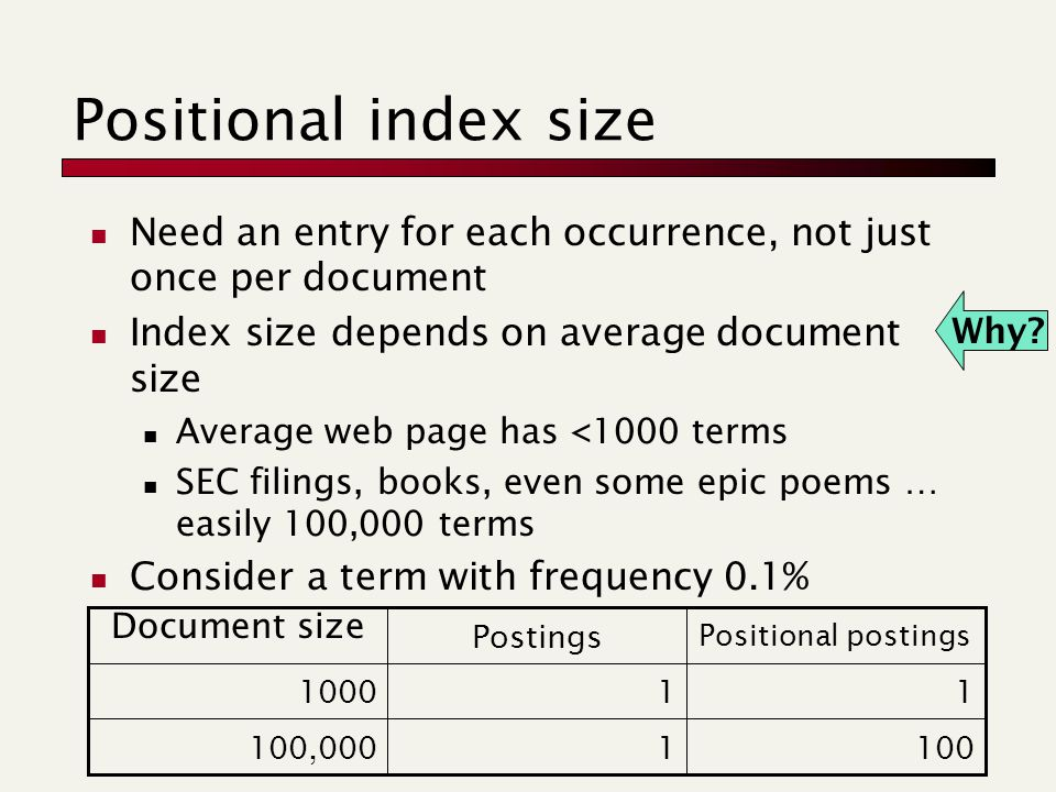 Positional index size Need an entry for each occurrence, not just once per document Index size depends on average document size Average web page has <1000 terms SEC filings, books, even some epic poems … easily 100,000 terms Consider a term with frequency 0.1% Why.