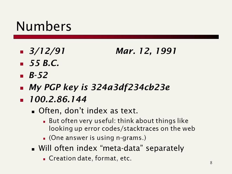 8 Numbers 3/12/91 Mar. 12, 1991 55 B.C.