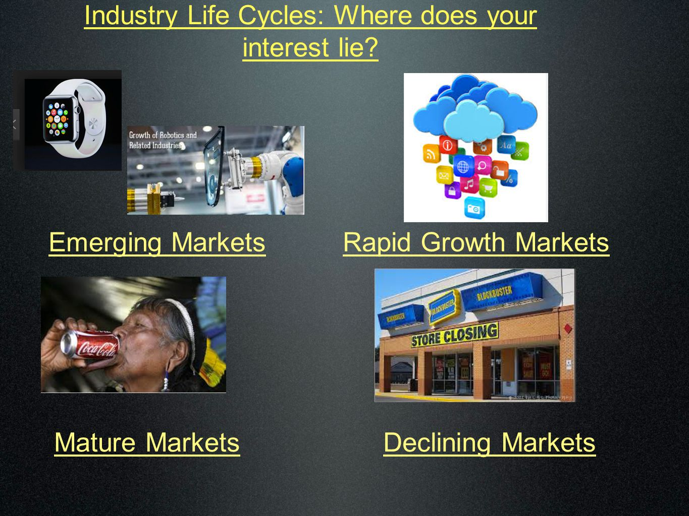 Industry Life Cycles: Where does your interest lie? Emerging MarketsRapid Growth Markets Declining MarketsMature Markets