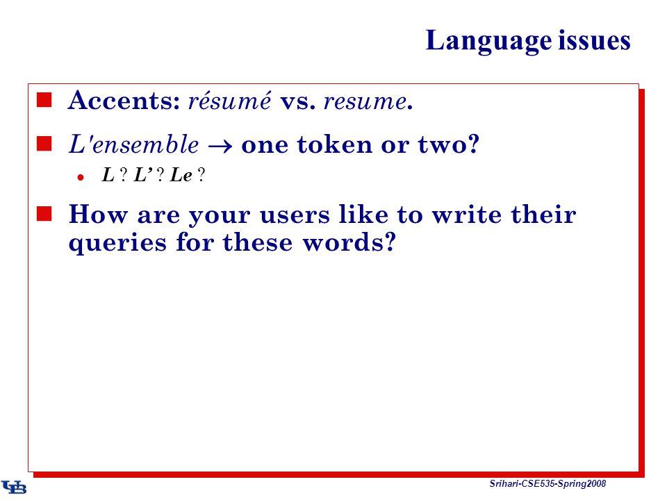 Srihari-CSE535-Spring2008 Language issues Accents: résumé vs.