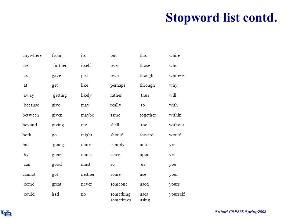 Srihari-CSE535-Spring2008 Stopword list contd. anywhere from its out this while are further itself over those who as gave just own though whoever at g