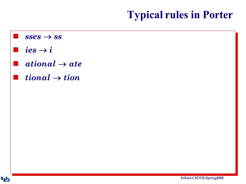 Srihari-CSE535-Spring2008 Typical rules in Porter sses  ss ies  i ational  ate tional  tion sses  ss ies  i ational  ate tional  tion