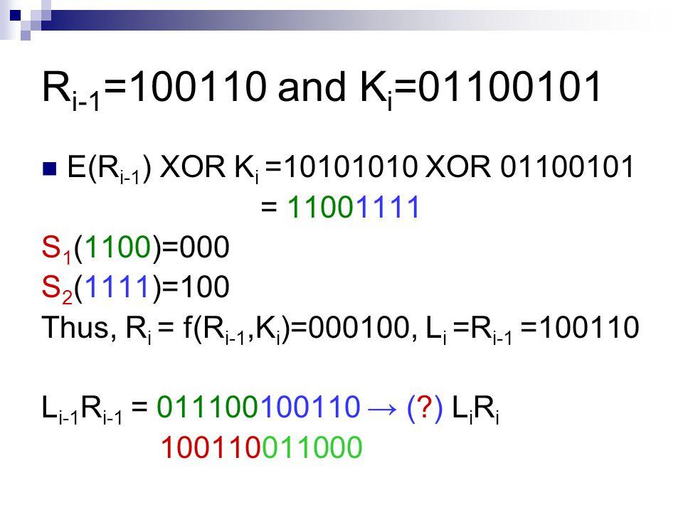 R i-1 =100110 and K i =01100101 E(R i-1 ) XOR K i =10101010 XOR 01100101 = 11001111 S 1 (1100)=000 S 2 (1111)=100 Thus, R i = f(R i-1,K i )=000100, L