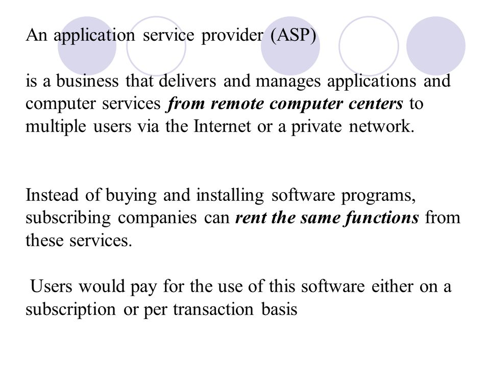 An application service provider (ASP) is a business that delivers and manages applications and computer services from remote computer centers to multiple users via the Internet or a private network.