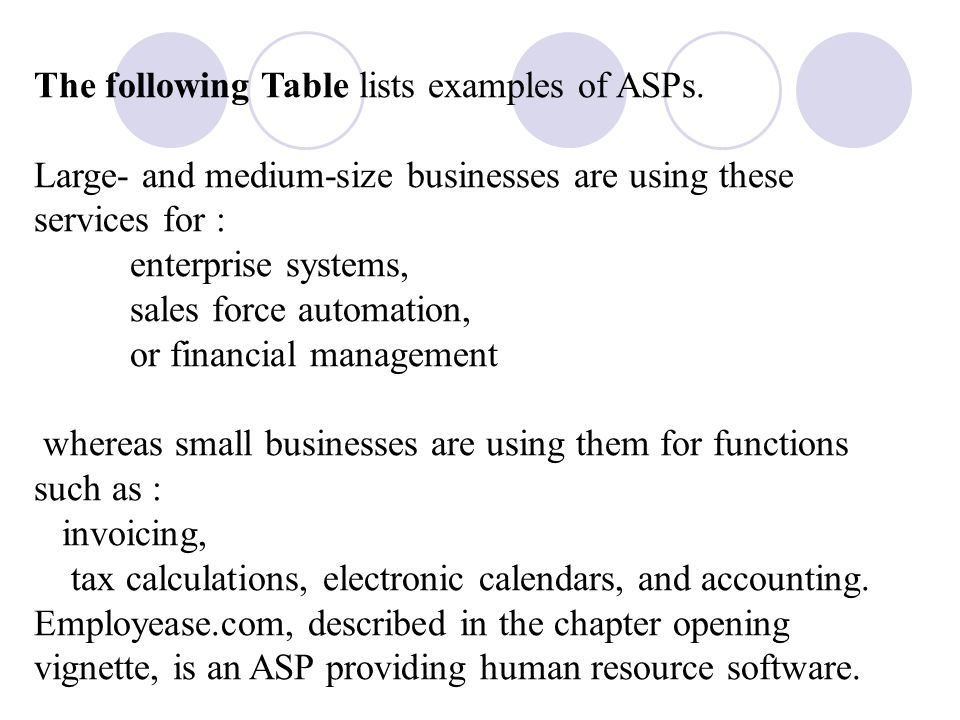 The following Table lists examples of ASPs.