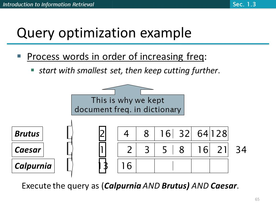 Introduction to Information Retrieval Query optimization example  Process words in order of increasing freq:  start with smallest set, then keep cutting further.