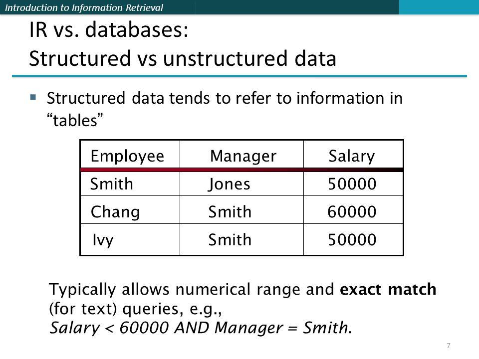 Introduction to Information Retrieval IR vs.