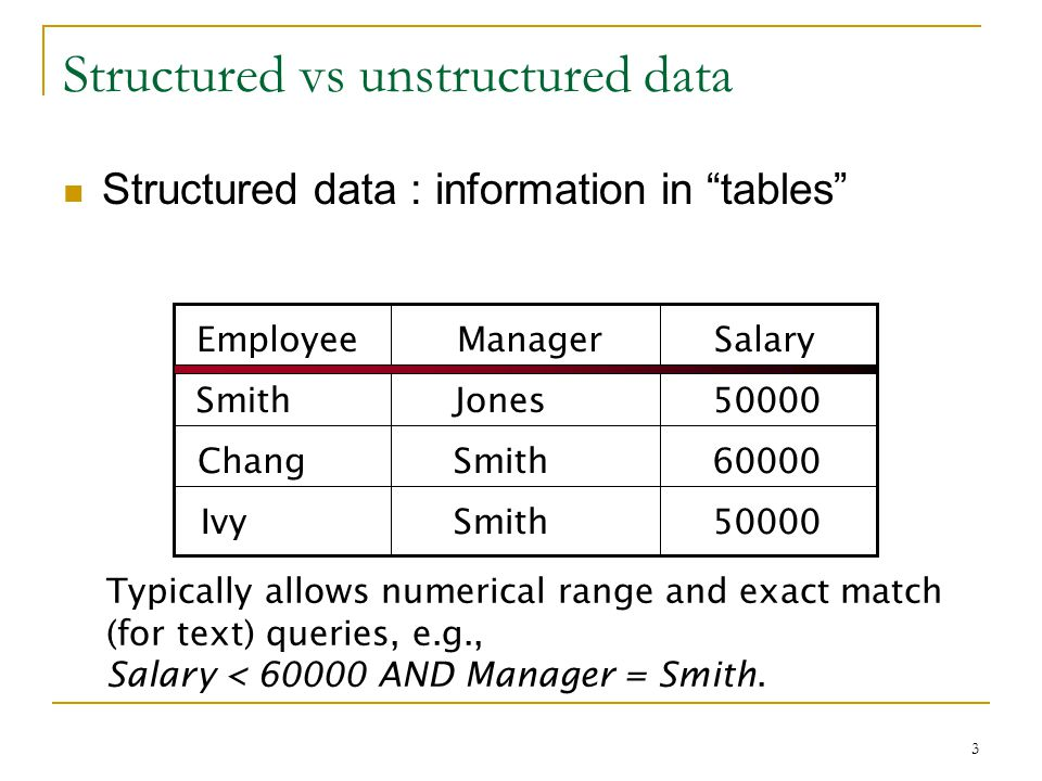 3 Structured vs unstructured data Structured data : information in tables EmployeeManagerSalary SmithJones50000 ChangSmith60000 50000IvySmith Typically allows numerical range and exact match (for text) queries, e.g., Salary < 60000 AND Manager = Smith.