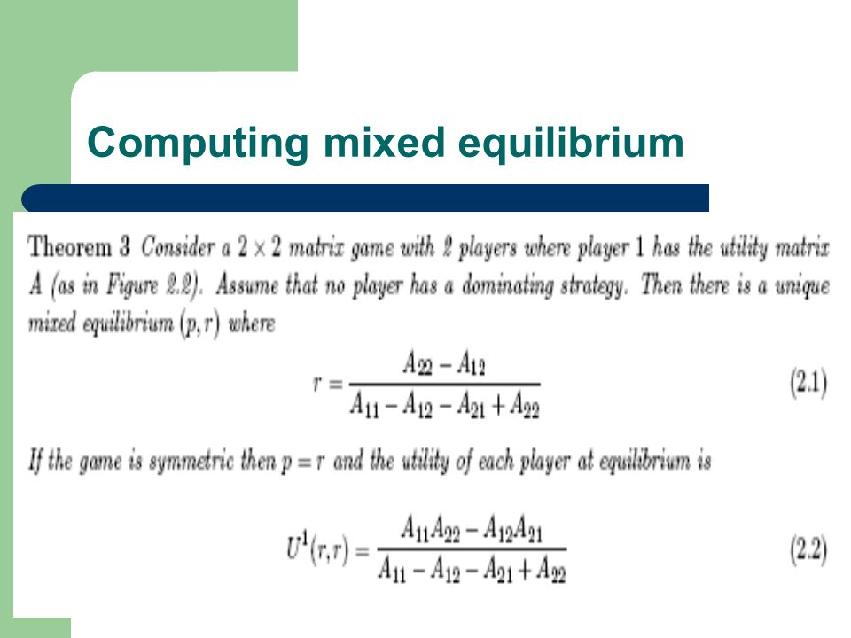 Computing mixed equilibrium