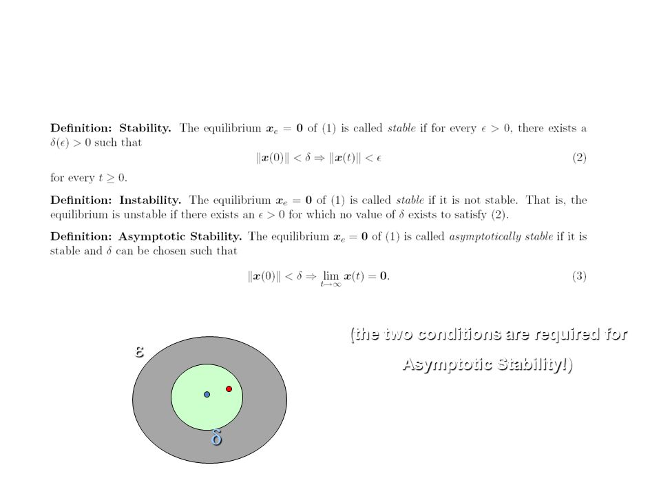 Lyapunov Theory (the two conditions are required for Asymptotic Stability!)  