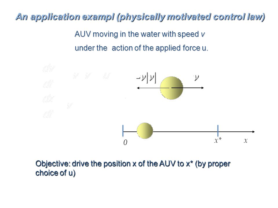 Lyapunov TheoryKrazovskii-La Salle An application exampl (physically motivated control law) v-v|v| AUV moving in the water with speed v under the action of the applied force u.