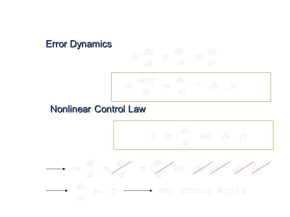 Nonlinear Control: Key Ingredients Error Dynamics Nonlinear Control Law