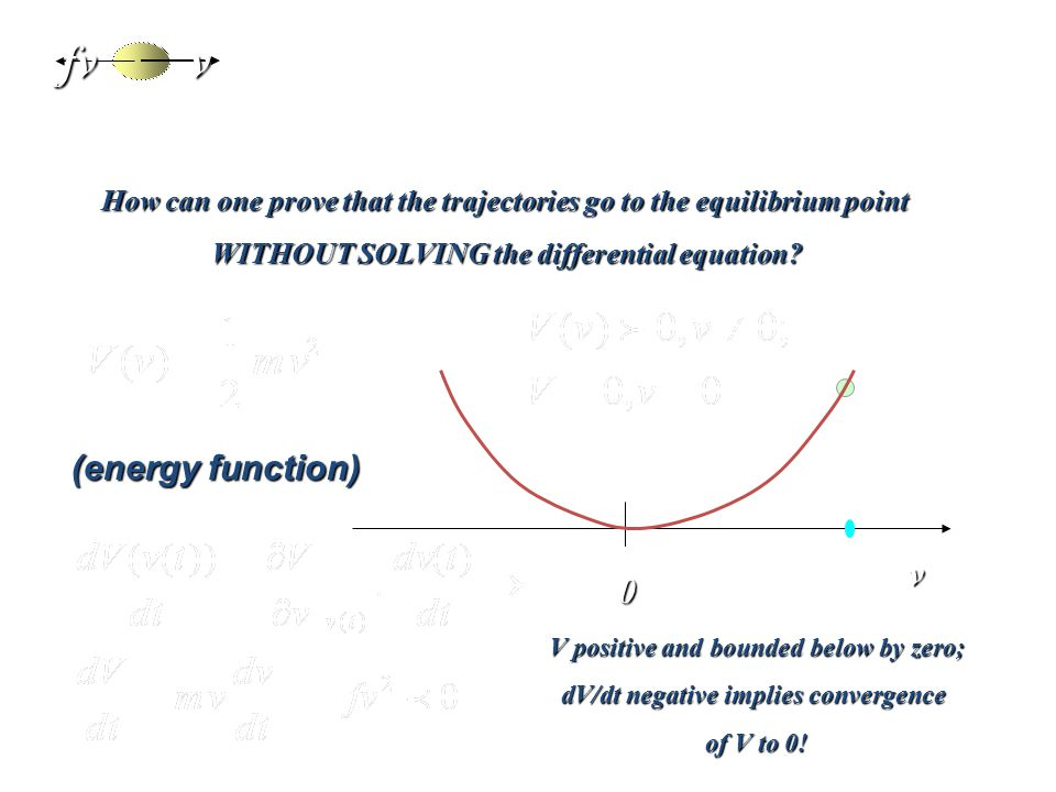 Lyapunov theory of stability: a soft Introvfv0 v How can one prove that the trajectories go to the equilibrium point WITHOUT SOLVING the differential equation.