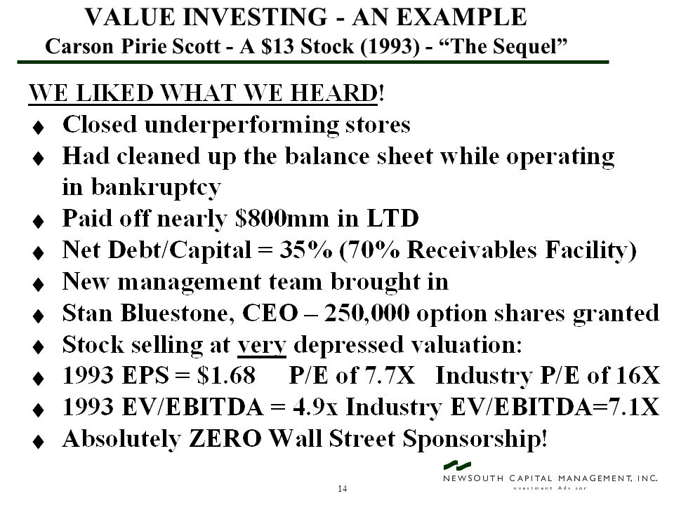 """14 VALUE INVESTING - AN EXAMPLE Carson Pirie Scott - A $13 Stock (1993) - """"The Sequel"""""""