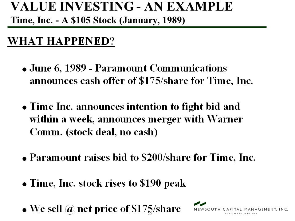 22 VALUE INVESTING - AN EXAMPLE Time, Inc. - A $105 Stock (January, 1989)