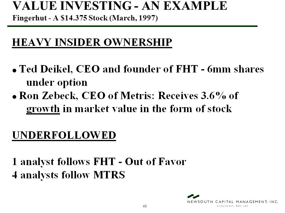 40 VALUE INVESTING - AN EXAMPLE Fingerhut - A $14.375 Stock (March, 1997)