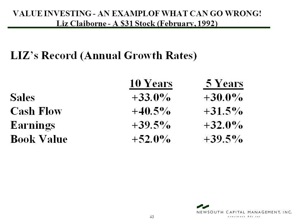 43 VALUE INVESTING - AN EXAMPLOF WHAT CAN GO WRONG! Liz Claiborne - A $31 Stock (February, 1992)